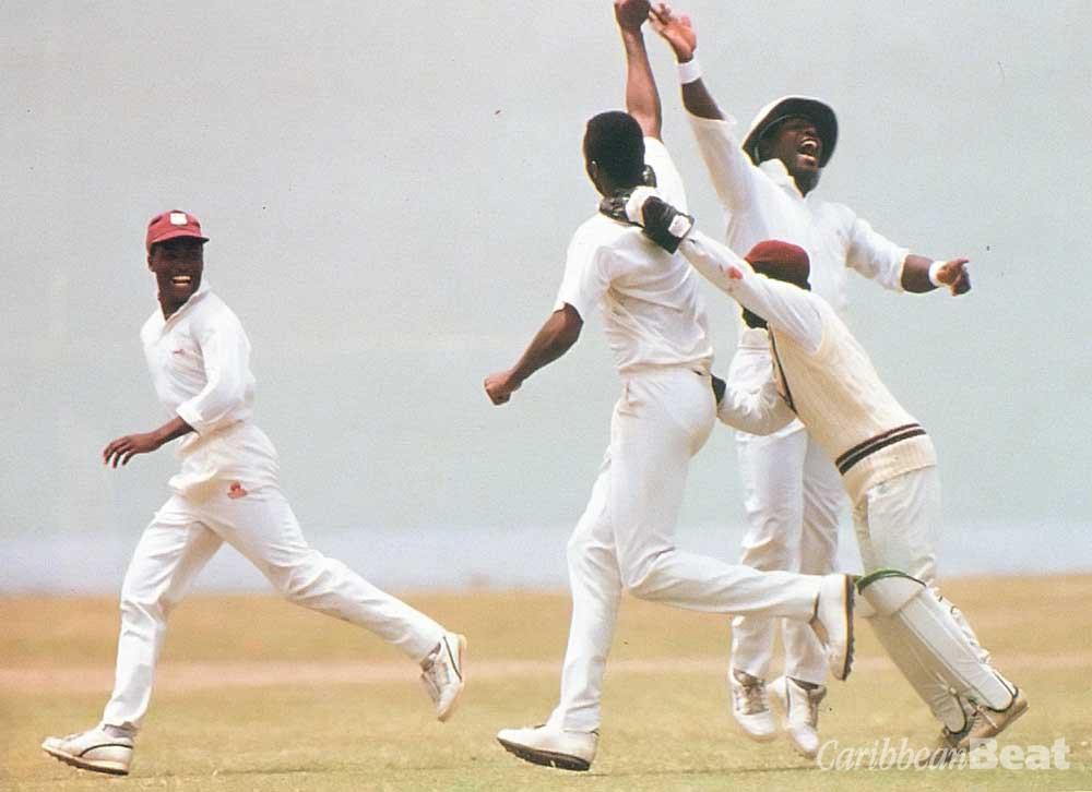 West Indies pull off a last-minute victory. Photograph by Allsport