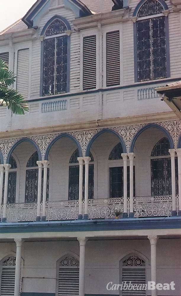 The balconies of Georgetown's Town Hall. Photograph by Peter Williams- South American Pictures