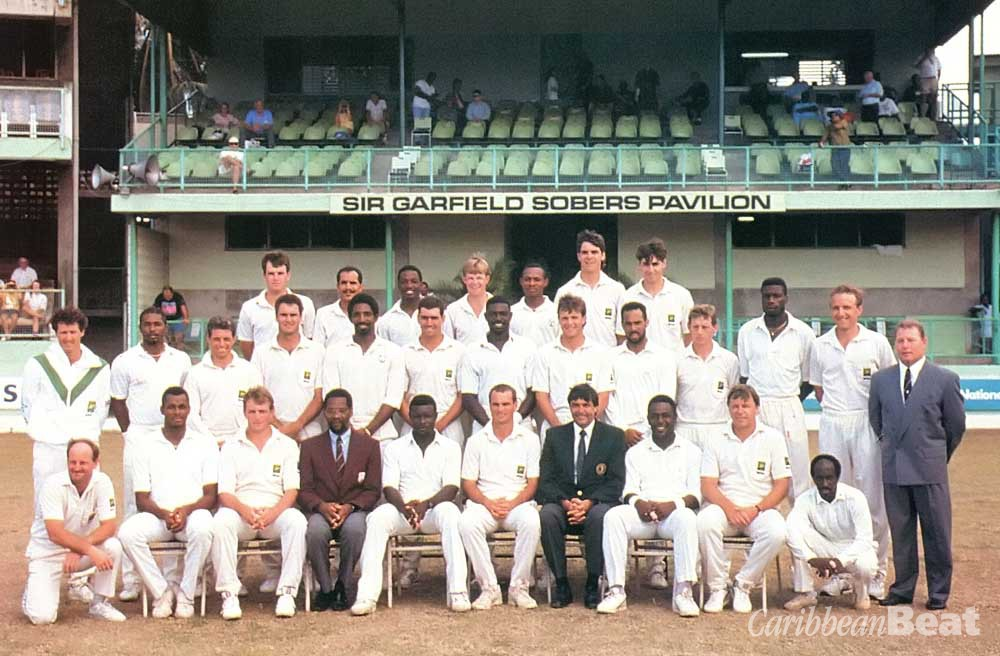 West Indian and South African teams in Barbados, 1992: are the South Africans going to set the pace for the cricketing world to follow? Photograph by Allsport