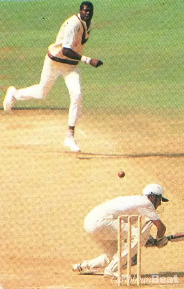 England's Alec Stewart ducks under a Curtley Ambrose bouncer at the Oval in 1991. Photograph by Action-Plus