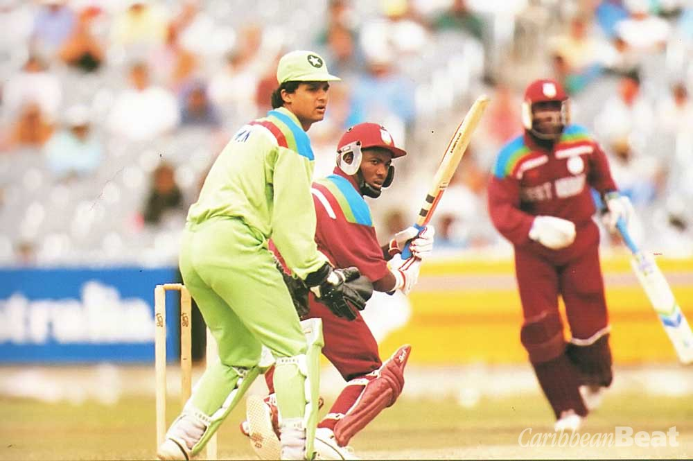 Pyjama party? Brian Lara in action as West Indies battle it out with Pakistan in Melbourne, 1992. Photograph by Allsport
