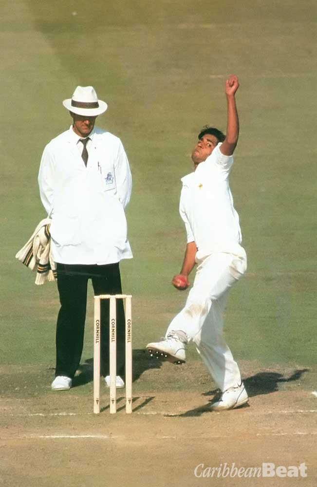 Pakistan's Ajib Javed in action against England at Old Trafford, 1992. Photograph by Allsport