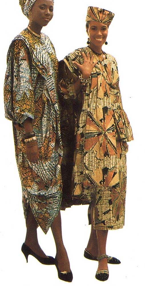 Africa and Egypt: African printed skirt by Nyzinga Onifa (right) in brown, black, rust and gold, with blouse pleated at the waistline, matching stole, and an echo of Egypt in the matching hat. Nyzinga Studio, 5 Swan Street, Bridgetown (Bds $ 290)