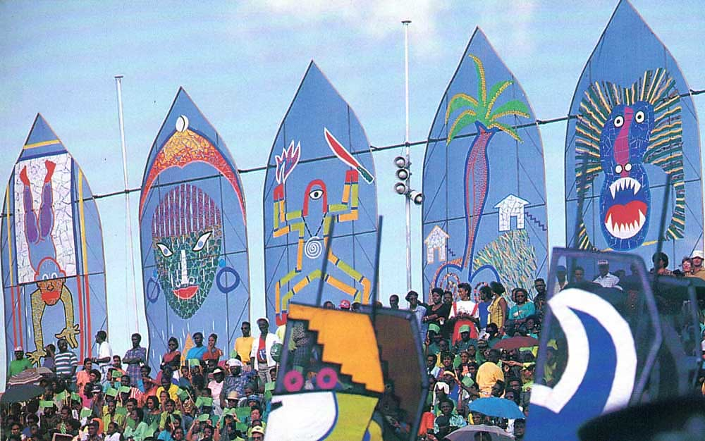 Giant panels by artist Steve Oudit overlooked Port of Spain's National Stadium and provided a backdrop for artist from across the region. Photograph by Harold Prieto