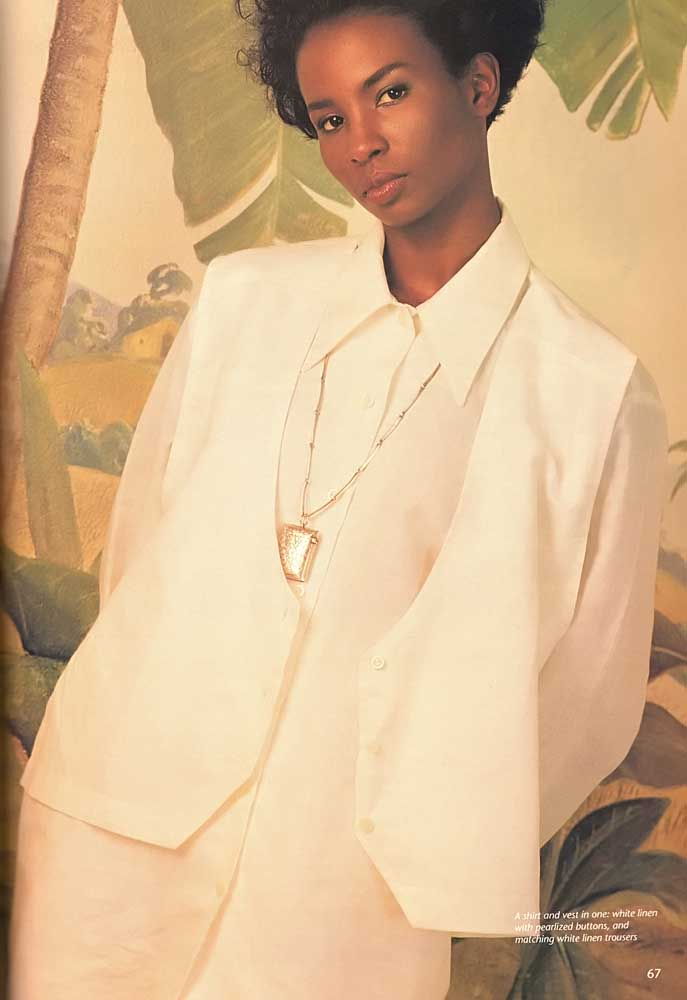 A shirt and vest in one: white linen with pearlized buttons, and matching white linen trousers. Photograph by Steve Cohn