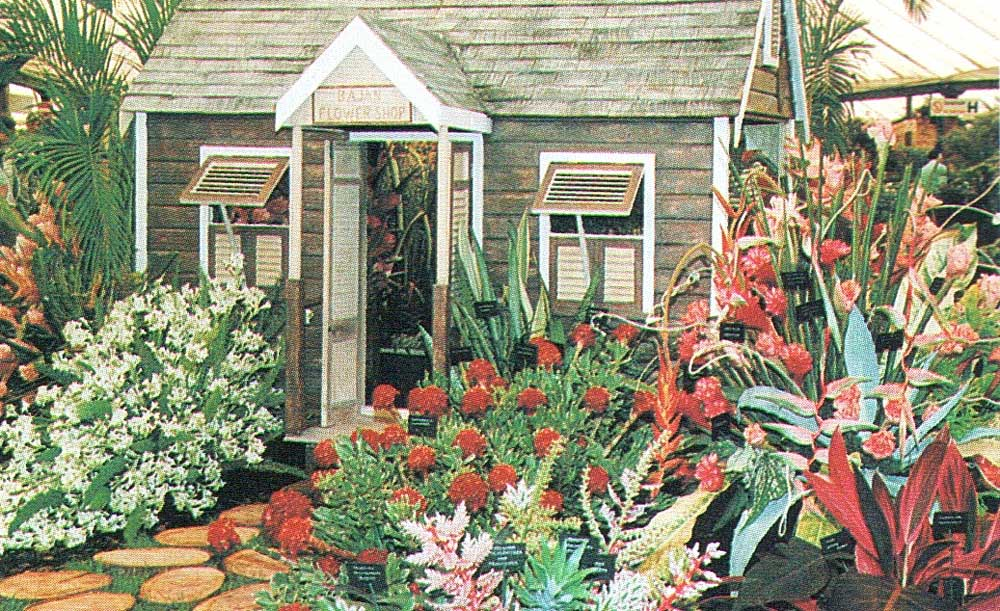 A traditional chattel house was the centrepiece of the Barbados exhibit at the 1993 Chelsea Flower Show in London