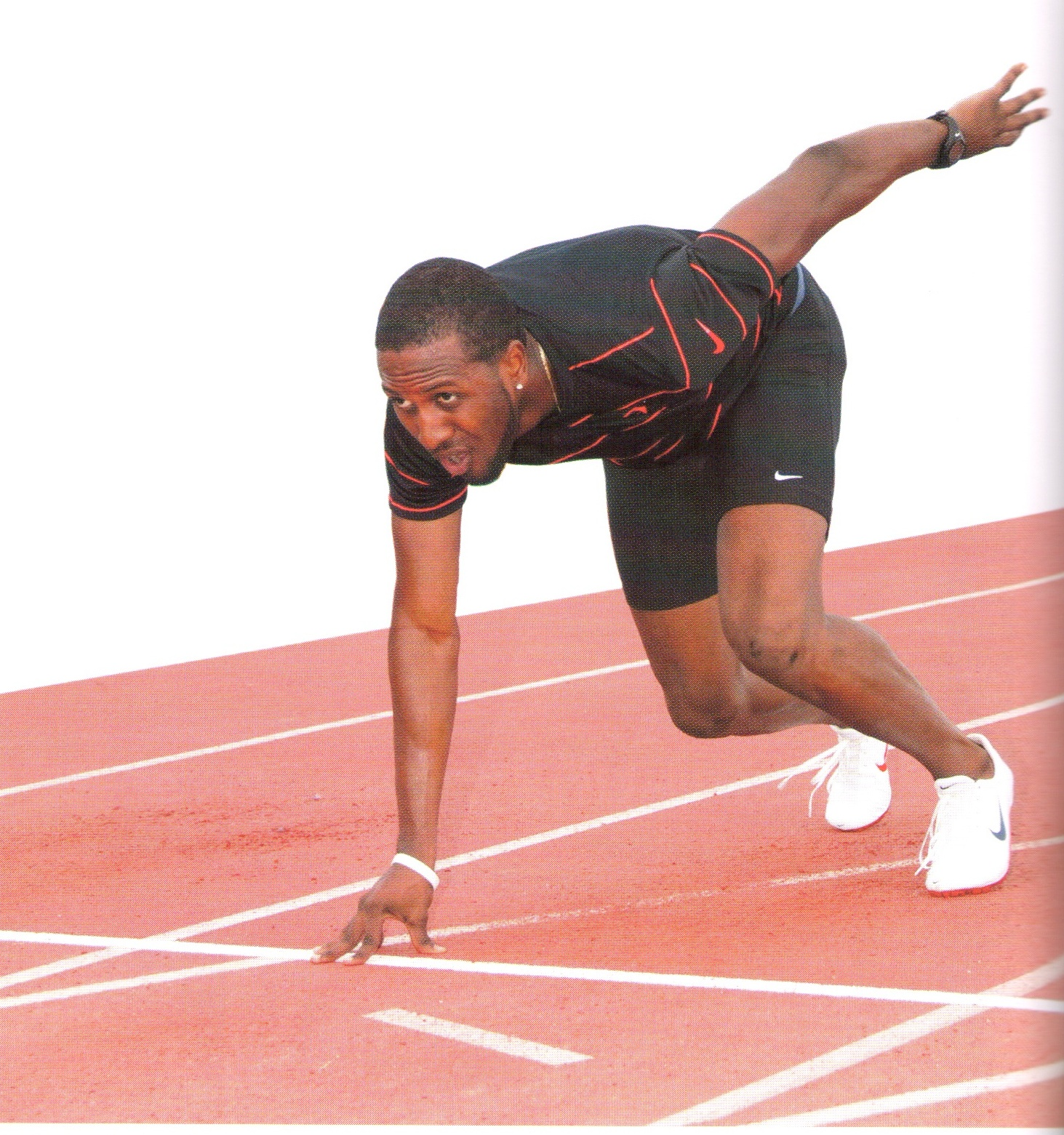 Trinidad and Tobaqo's Olympic silver medallist Richard Thompson prepares at the Hasely Crawford Stadium. Photograph courtesy Caribbean Games 2009