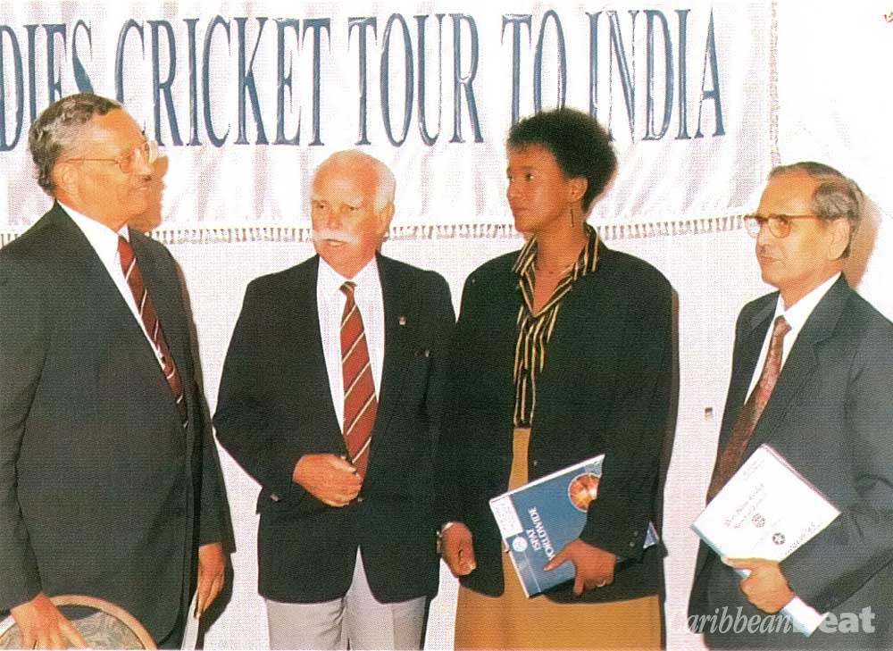 From right: R.S. Misra, Managing Director of Caribbean ISPAT; Trinidad and Tobago's sports minister Jean Pierre; Peter Short, president of the West Indies Cricket Board of Control; and the WICBC's Pat Rouseo