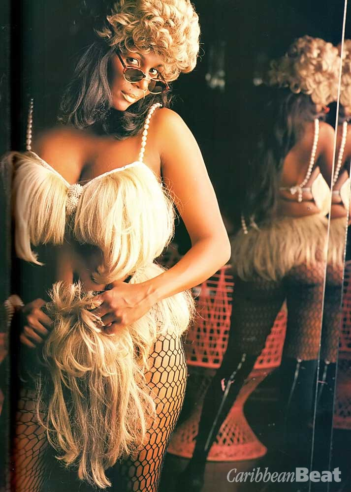 A Biggy special: bra top and bottoms made from blonde wigs. Photograph by Steve Cohn