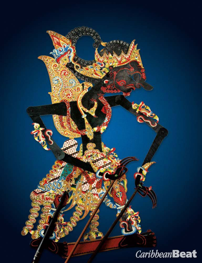 A wayang kulit used in the ancient Javanese shadow puppet theatre. Photography by Charles Chang