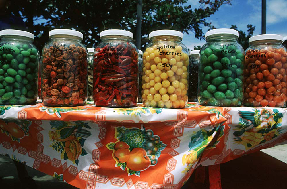 Preserved fruits on sale. Photograph by Sean Drakes/ Blue Mango