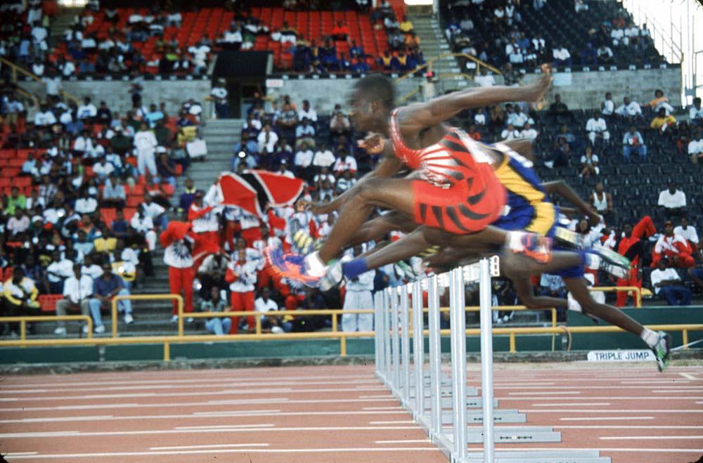 Hurdles at the Hasley Crawford Stadium, Port of Spain. Photographs by Sean Drakes/ Blue Mango