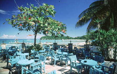 Patio at Shaw Park Beach Hotel, Ocho Rios. Photograph by Mike Toy