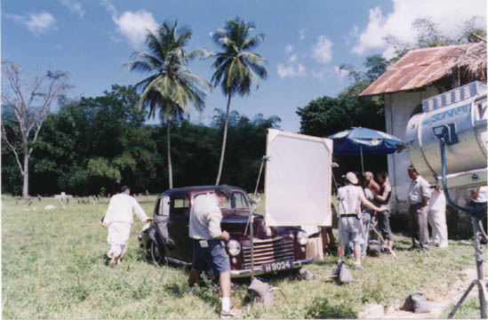 The film crew with Ganesh's Vauxhall on location in Tucker Valley. Photograph by David Tindall