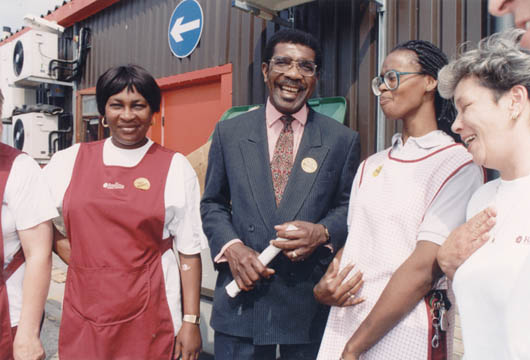 Morris with catering workers during the campaign to become General Secretary. Photograph courtesy Transport and General Workers' Union