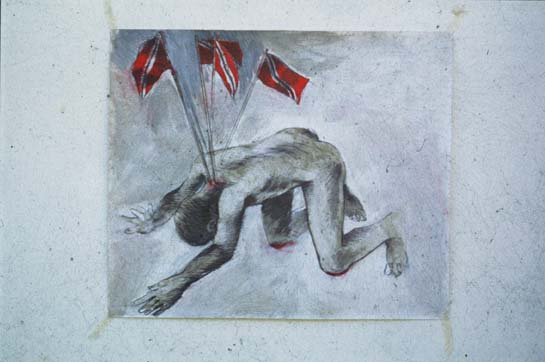 Bend Down (1996; mixed media on paper; collection of Ataklan). Photograph by Chris Cozier