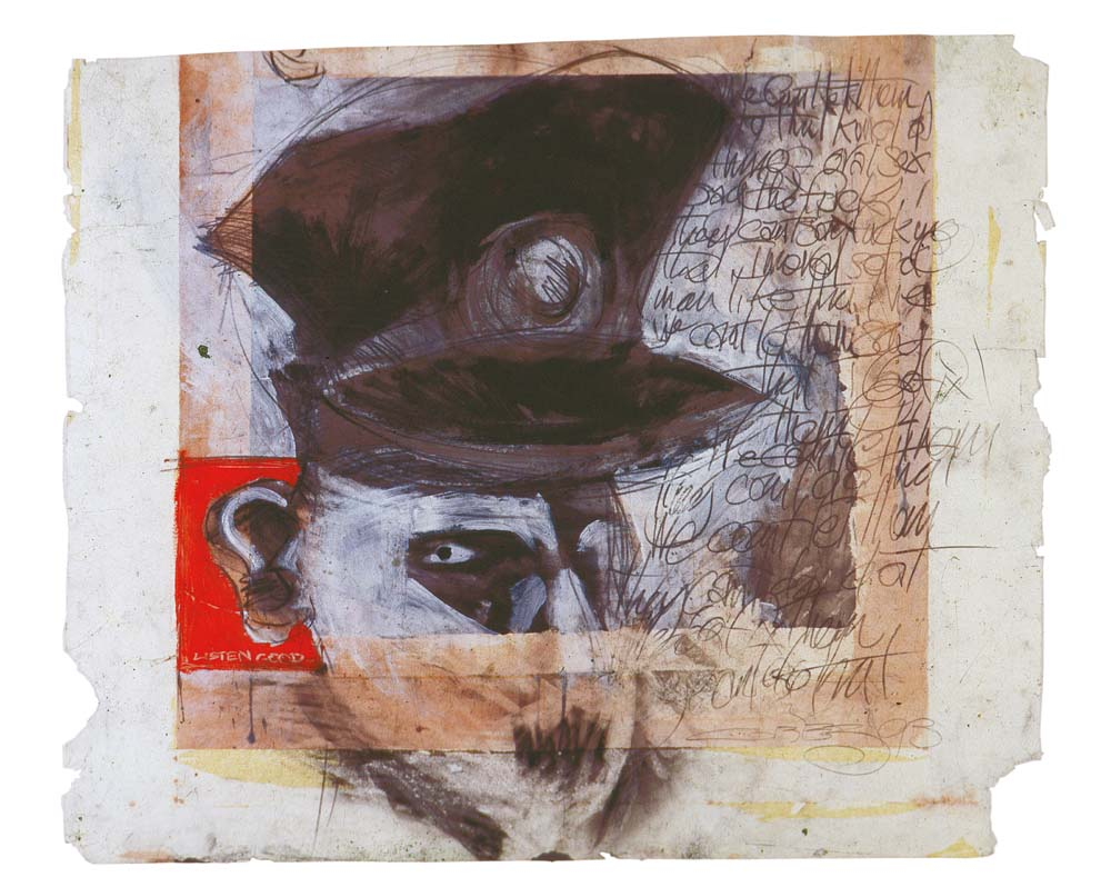 Police (from the Blue Soap series; mixed media on paper; collection of Dr Ulrich Fiedler, Cologne). Photograph by Henry Hamlet