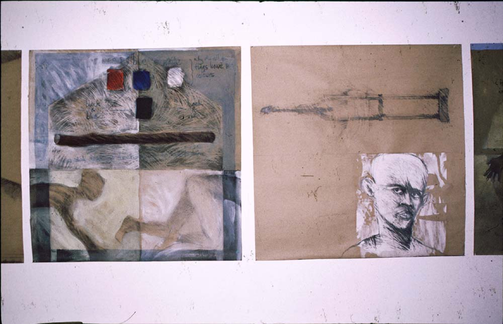 Under the Stick and You Feel I F...... Care (mixed media on cardboard; 1999). Photograph by Henry Hamlet