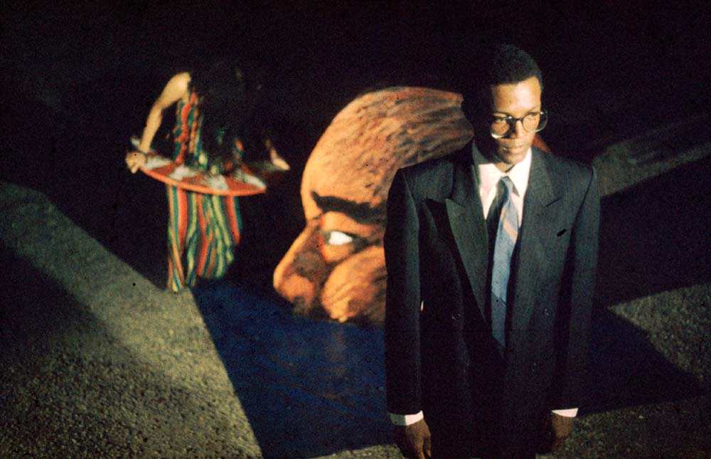 A still from the video installation Blue Soap (produced by Earth TV), 1994. Photograph by Marlon Rouse