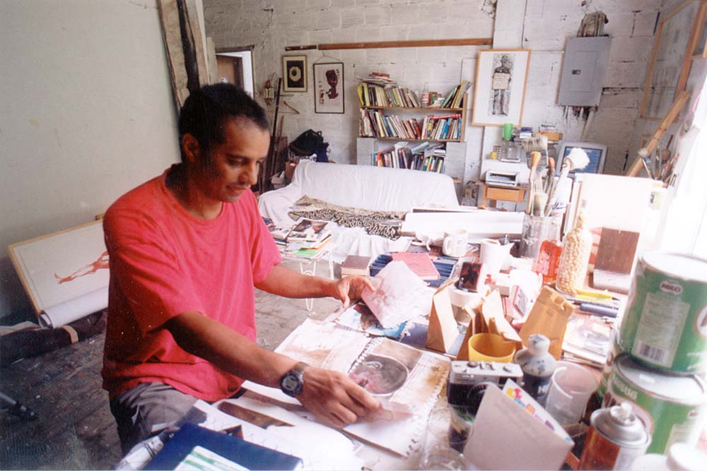 Cozier in his studio, 2001. Photograph by Mark Lyndersay