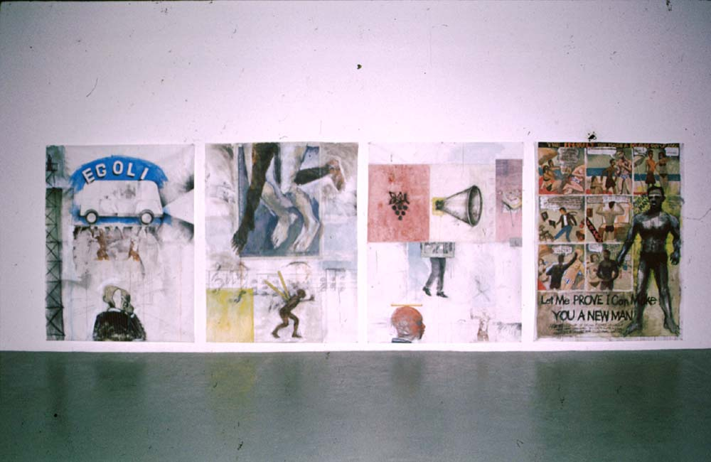 Egoli, City of Gold; Suspended; Voice; Culture Man; from Intersection, an exhibition at CCA 7, Trinidad; 2001. Photograph by Henry Hamlet