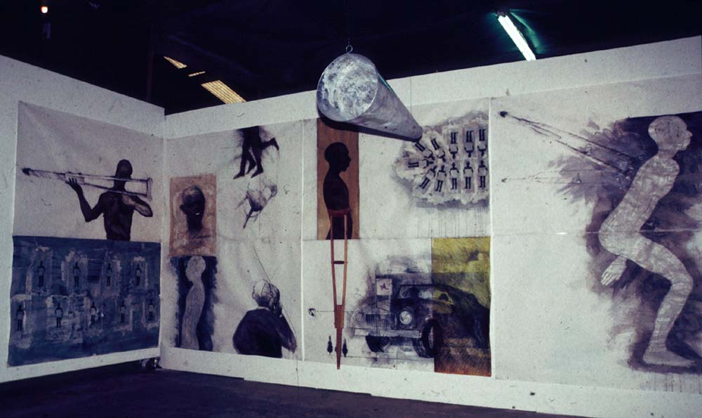 Taking Aim; About Balance; Western Journey; Poised 1999; Johannesburg, at the Bag Factory. Photograph by Chris Cozier