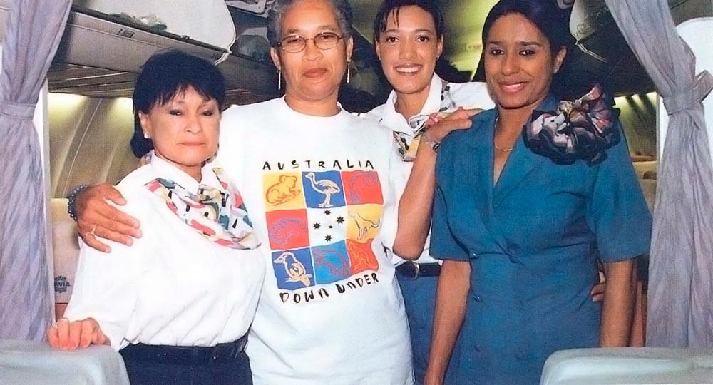 With BWIA flight attendants. Photograph courtesy BWIA/ Trasi Jang