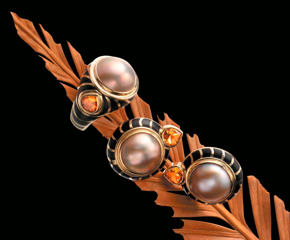 Ring from the Alchemy collection: bronze mabé pearl, 18-carat gold, silver and ebony inlaid with 18-carat gold and citrine Earrings of 18-carat gold, bronze mabé pearls and ebony inlaid with 18-carat gold and citrines. Photograph by Woodbury &  Associates