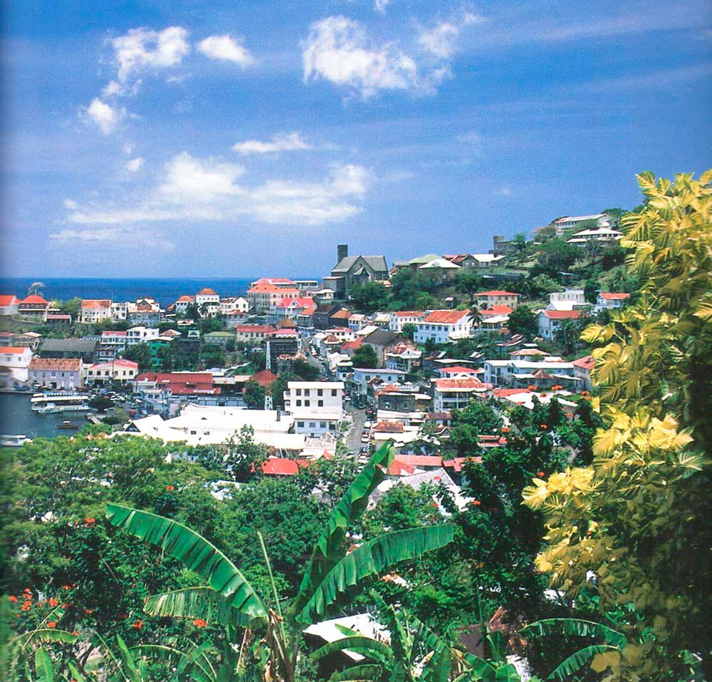 Aerial view of St George's, capital Grenada. Photograph by Chris Huxley