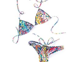 """Bright and risqué suits from the """"Print Me Crazy"""" collection by Suga Apple Swim. Photography by Stephanie Kelly"""