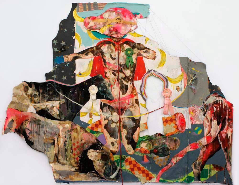 Exhibit (2015), mixed media on cut canvas, 91 x 110 inches. Photograph courtesy Lavar Munroe
