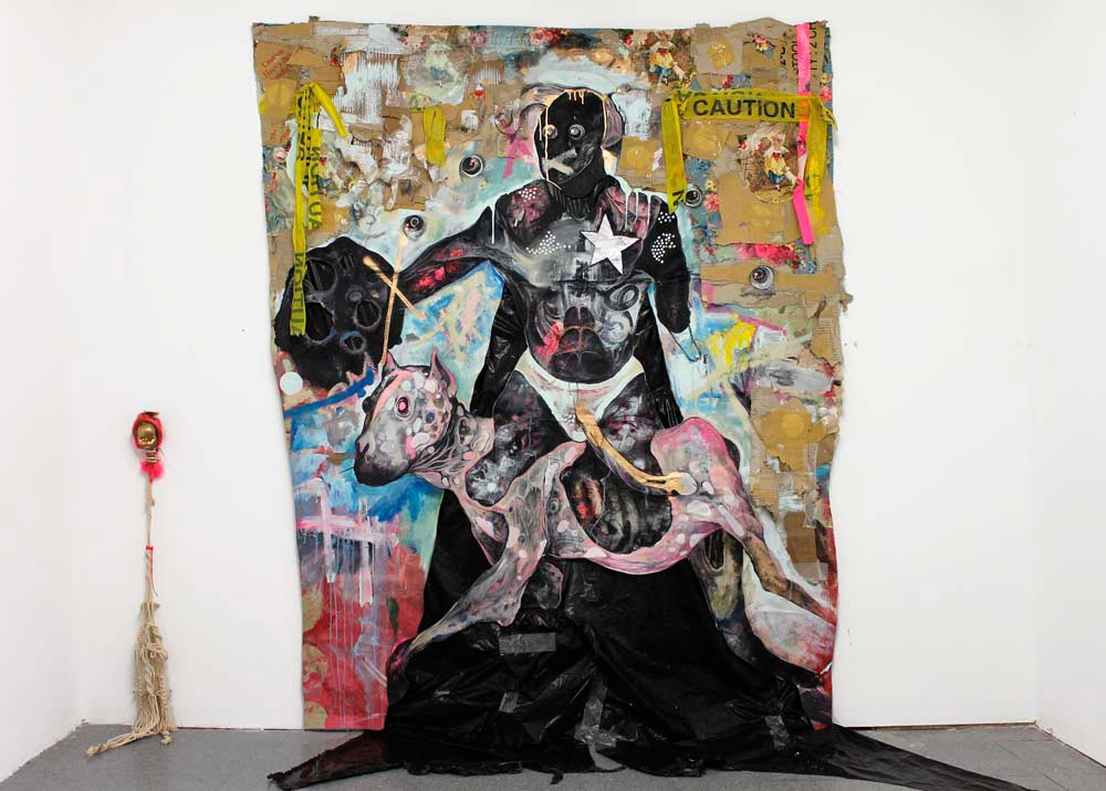 To Protect and Serve (2012), mixed media on cut canvas, 67 x 105 inches. Photograph courtesy Lavar Munroe