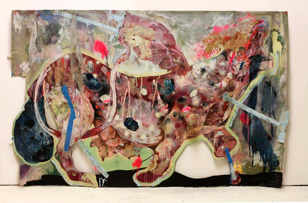On Deaf Ears (2013), mixed media on cut canvas, 46 x 72 inches. Photograph courtesy Lavar Munroe