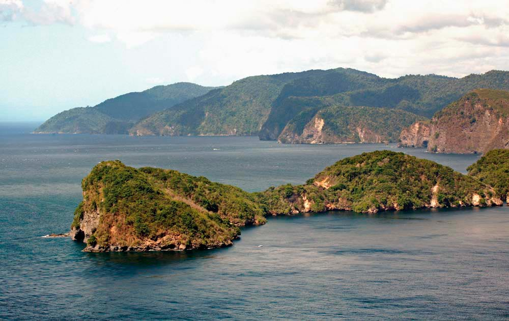 Looking across Huevos Island, with Monos and Trinidad in the background. Photograph by Stephen Broadbridge