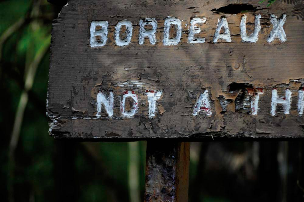 A battered road sign on Bordeaux Mountain. Photograph by David Knight, Jr