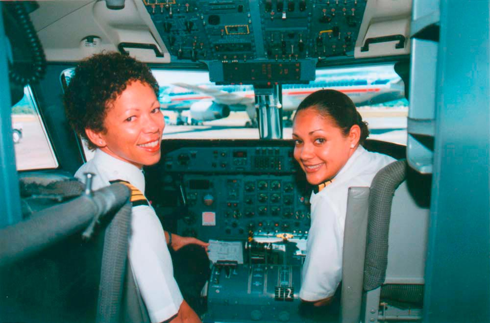 Wendy Yawching (left) and Monique Nobrega in the cockpit. Photograph by Trasi Jang/ Courtesy BWIA West Indies