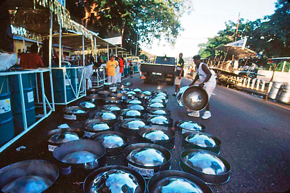 Lining up the pans in the road, outside the Savannah. Photograph by Sean Drakes