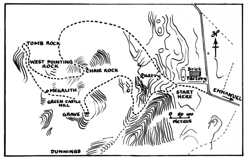 Track leading to megaliths. Map adapted by Winston Cumberbatch