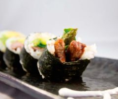 Chef Jeremy Tilokee's Joe-San (steak roll) includes beef, asparagus, and avocado. Photography courtesy Samurai