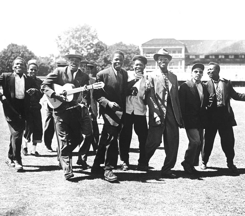 Kitchener celebrates in song after the West Indies cricket team beat England at Lord's. Photograph courtesy Press Association