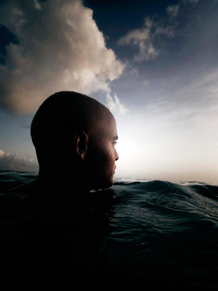 Self-Portrait Swimming Back to the Shore (2014). Photography by Nadia Huggins