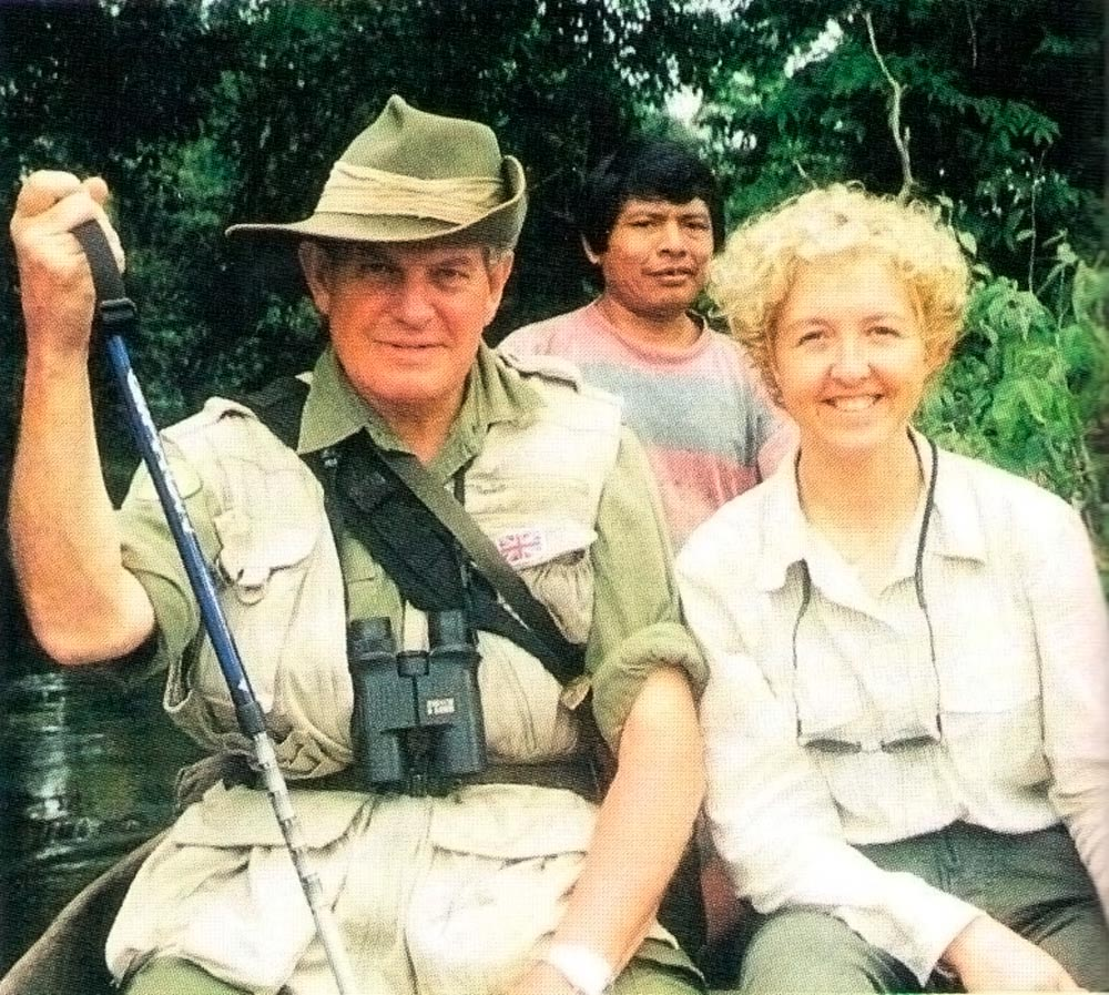 Col. Blashford Snell with Anna Nicholas and Wai Wai hunter James in dugout on the Essequibo. Photograph by Anna Nicholas