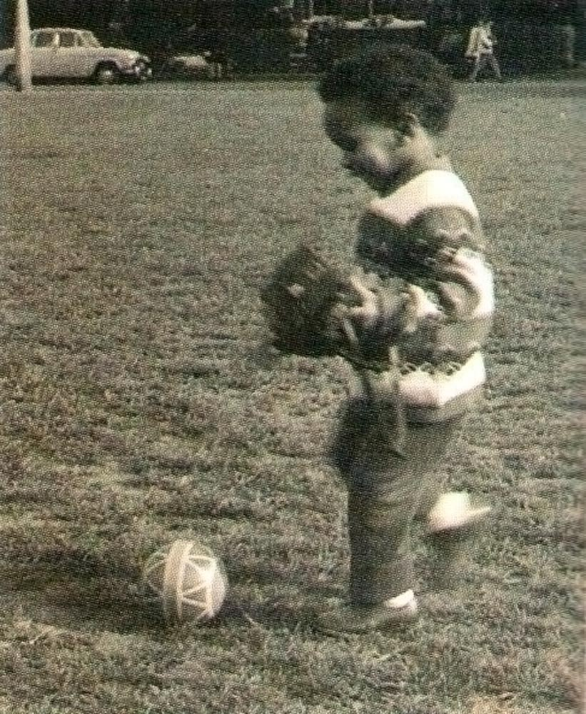 Demonstrating early signs of football prowess on Clapham Common. Photograph courtesy George Hislop