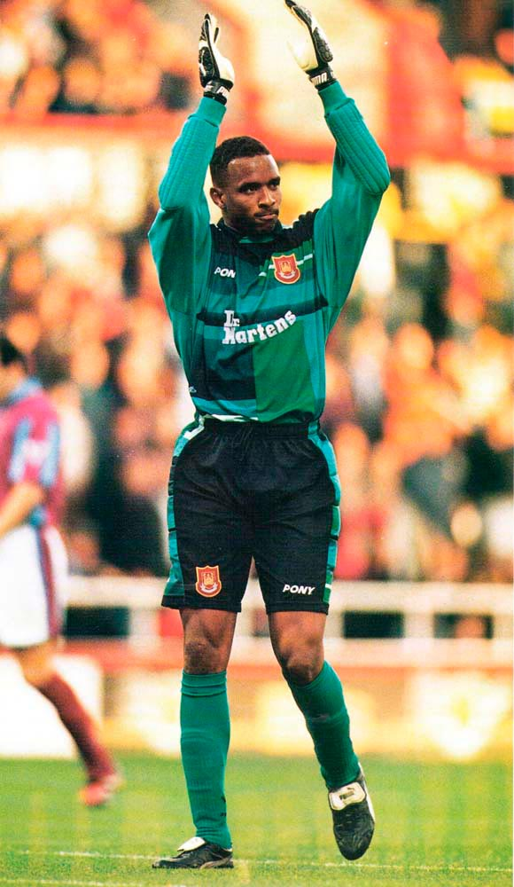 At the end of his first season with West Ham, Shaka was voted Hammers Player of the Year by supporters. Photograph by Gary M Prior/ Allsport