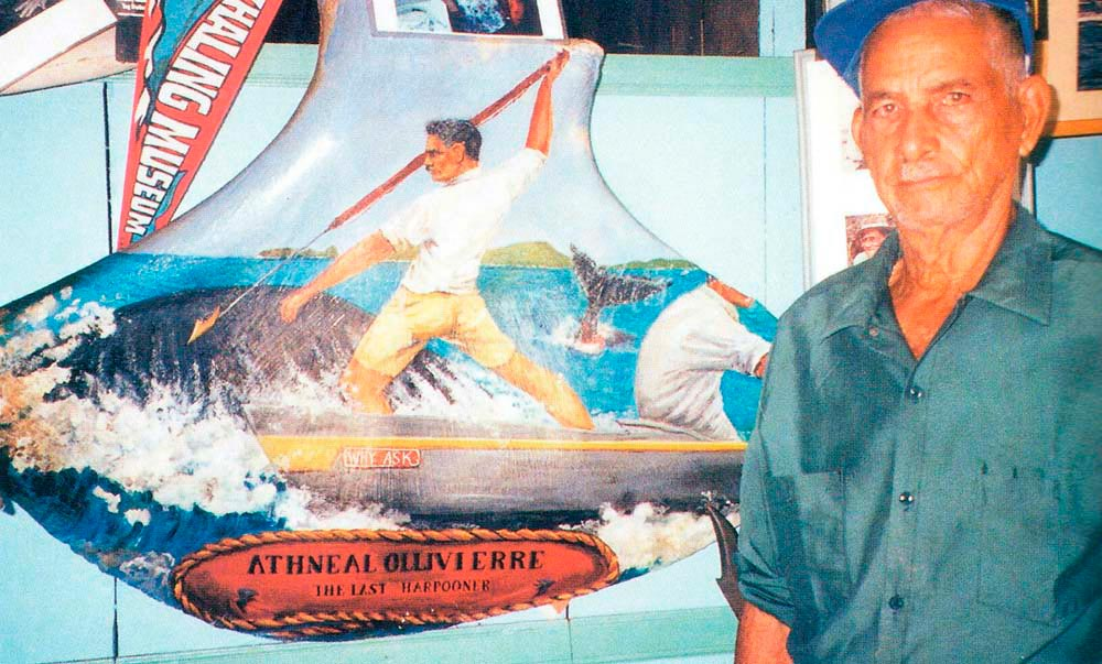 Athneal Ollivierre inside his Whale Museum. Photograph by Skye Hernandez
