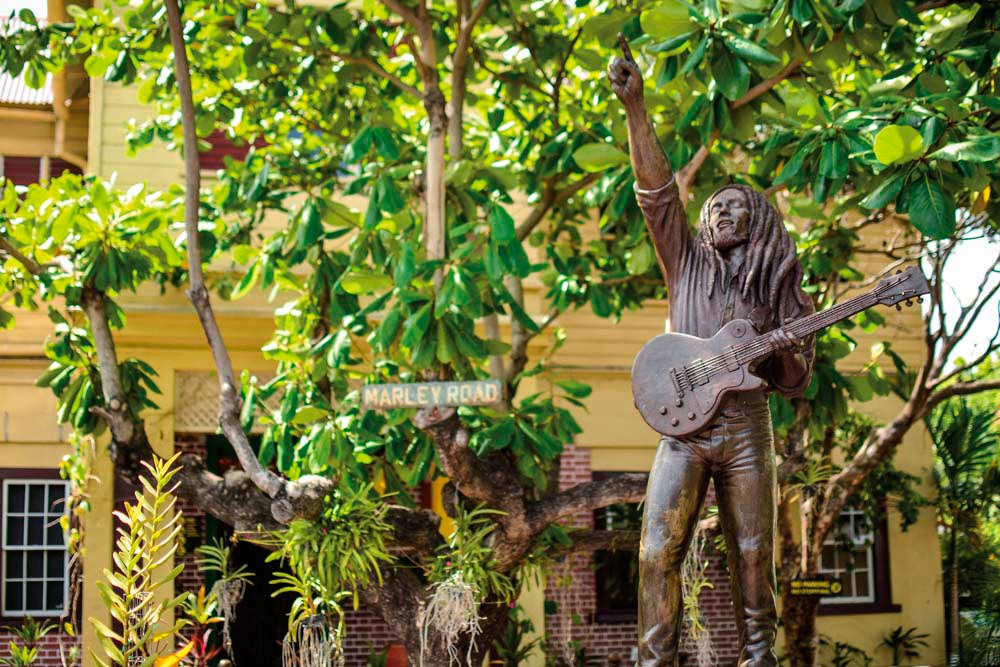 The Bob Marley statue at 56 Hope Road, Kingston, where the singer was injured in a 1976 assassination attempt. Photograph by Matthew Henry