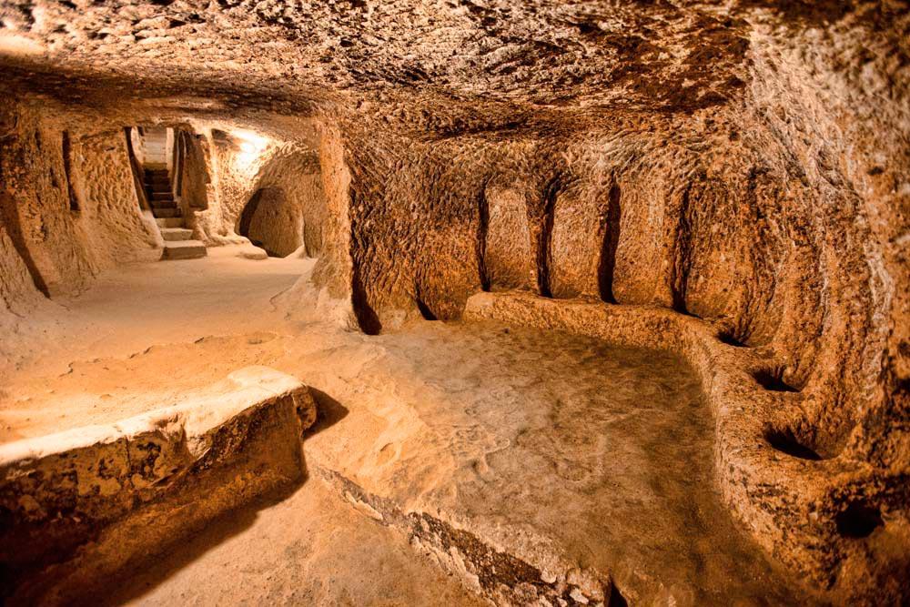 Derinkuyu's Underground City, a stronghold dug deep into bedrock. Pakhnyushchy/shutterstock.com