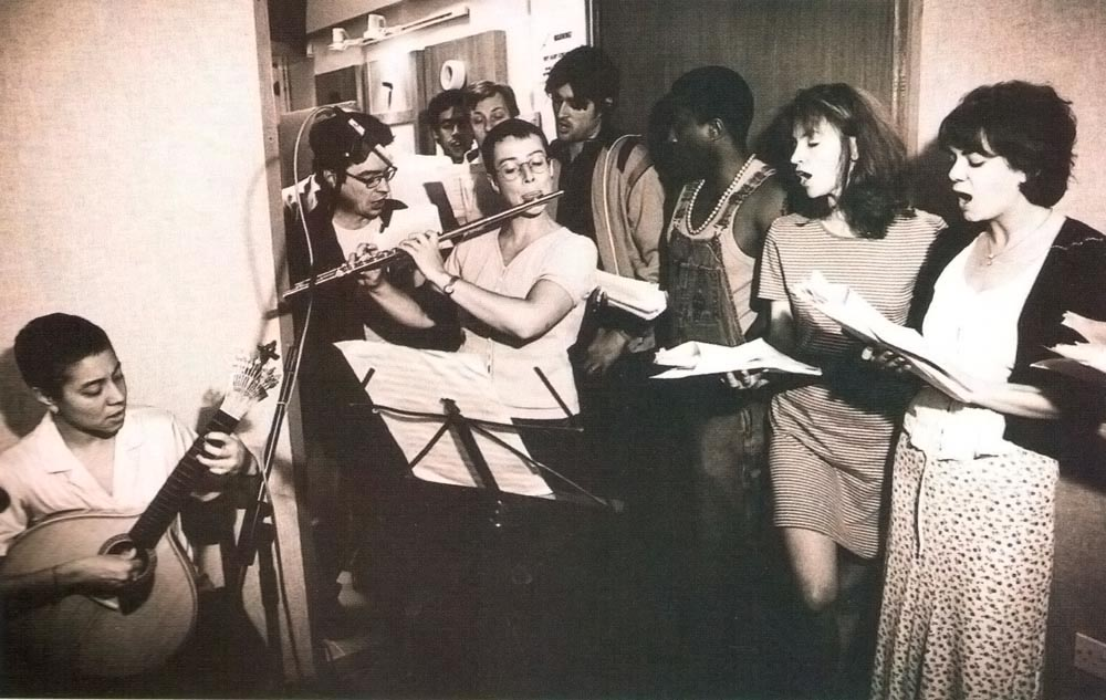 Dominique (left) playing Portuguese guitar with flautist Kirsten Spratt and actors during the recording of As You Like It. Photograph by Sheila Burnett