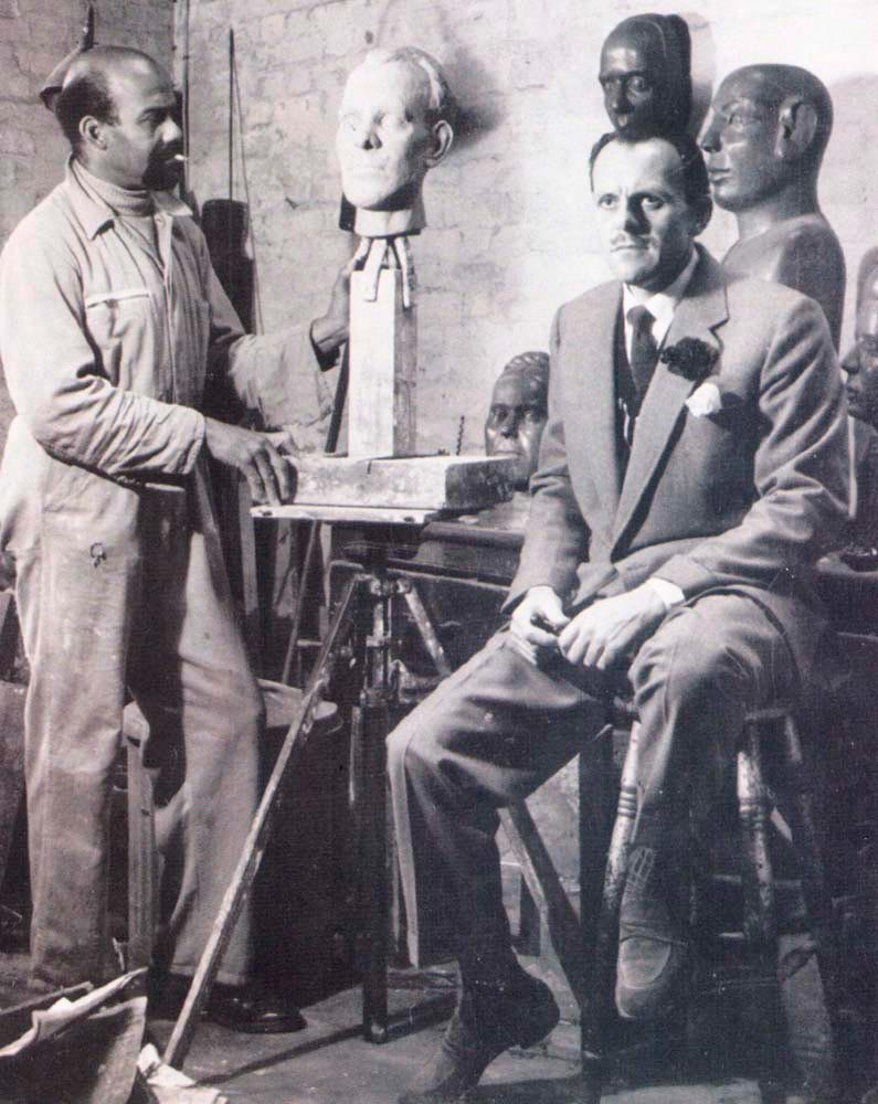 Moody working with actor Terry Thomas. Photograph courtesy Cynthia Moody