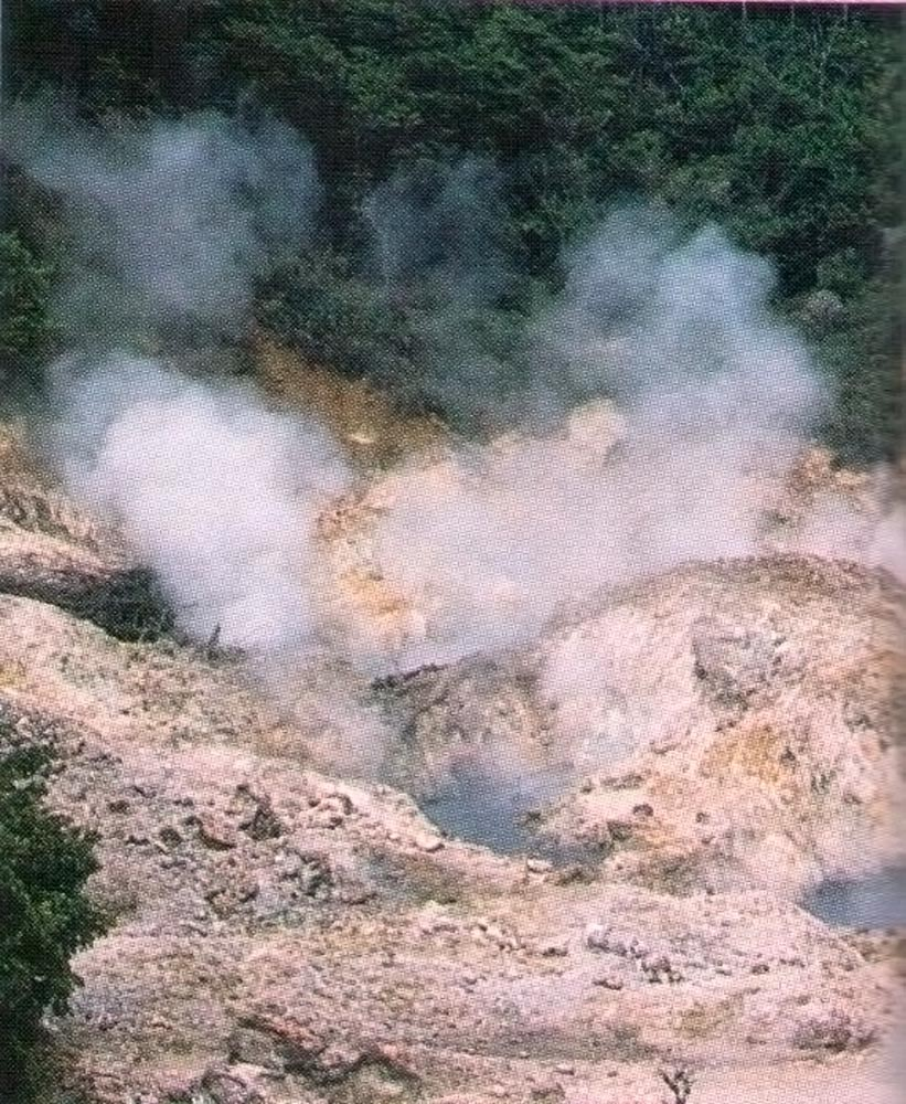 Sulphur vents at Soufriere. Photograph by Mark Lyndersay